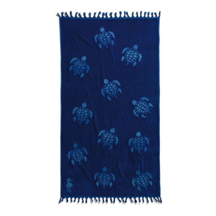 Seahorse Strandlaken Hamam Katoen Tartaruga 100x180cm - ocean blue