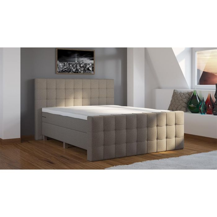 Boxspring Quinto Stof Compleet Inclusief Voetbord