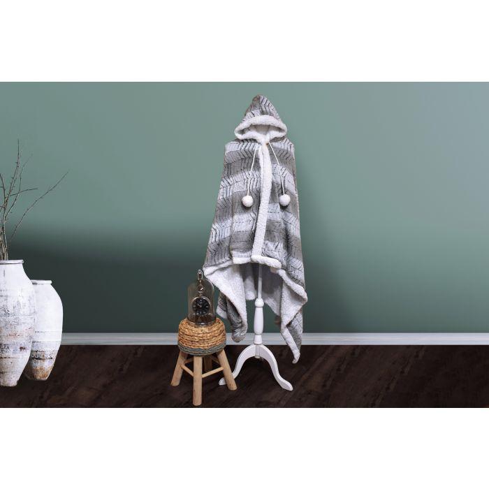 Hoodie Flanel Fleece Deken Met Capuchon Bongoa - licht grijs - in Dekens