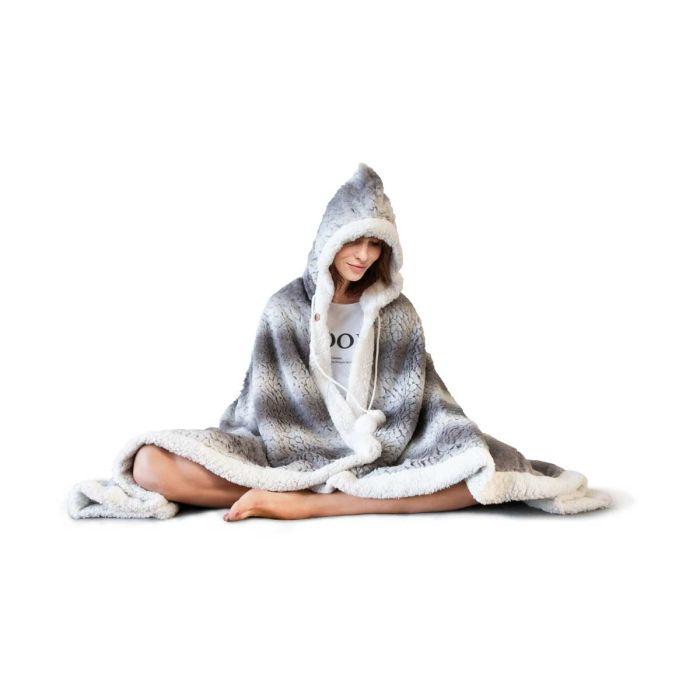 Hoodie Flanel Fleece Deken Met Capuchon Fluff - grey - in Dekens