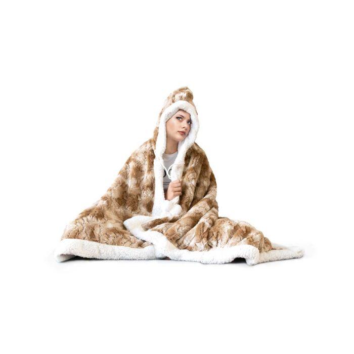 Hoodie Flanel Fleece Deken Met Capuchon Teddy - beige - in Dekens