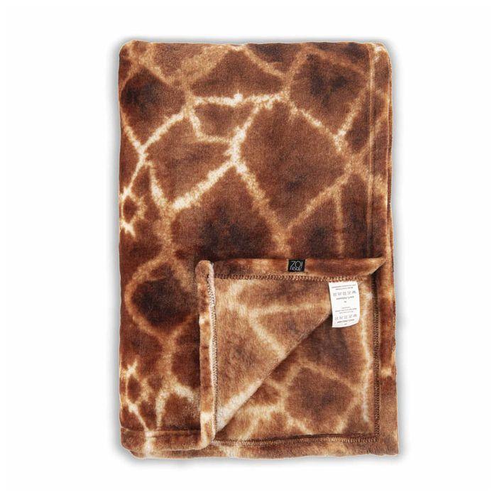 Zo Home Flanel Fleece Plaid Giraffe - orange - 140x200